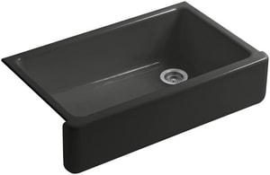 KOHLER Whitehaven® 35-11/16 x 21-9/16 in. No Hole Cast Iron Single Bowl Apron Front Kitchen Sink in Caviar K6489-FP