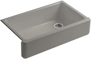 KOHLER Whitehaven® 35-11/16 x 21-9/16 in. No Hole Cast Iron Single Bowl Apron Front Kitchen Sink in Cashmere K6489-K4