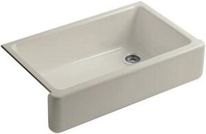 KOHLER Whitehaven® 35-11/16 x 21-9/16 in. No Hole Cast Iron Single Bowl Apron Front Kitchen Sink in Sandbar K6489-G9