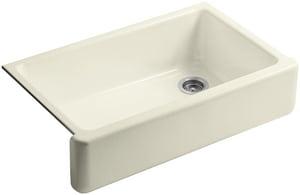 KOHLER Whitehaven® 35-11/16 x 21-9/16 in. No Hole Cast Iron Single Bowl Apron Front Kitchen Sink in Cane Sugar™ K6489-FD
