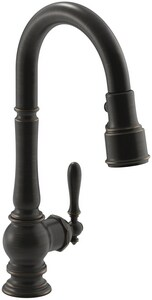 KOHLER Artifacts® Single Handle Pull Down Kitchen Faucet with Three-Function Spray, Magnetic Docking and Sweep Spray Technology in Oil Rubbed Bronze K99261-2BZ