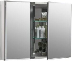 Kohler 35 x 26 in. Double Door Aluminum Medicine Cabinet with Square Mirror K99042-NA
