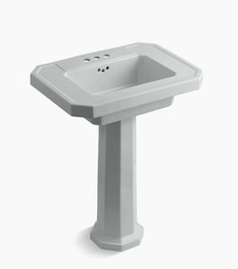KOHLER Kathryn® 3-Hole Bathroom Rectangular Lavatory Sink with 4 in. Faucet Centerset in Ice Grey K2322-4-95