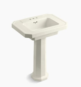 KOHLER Kathryn® 3-Hole Bathroom Rectangular Lavatory Sink with 4 in. Faucet Centerset in Biscuit K2322-4-96