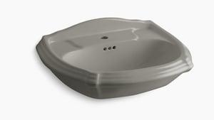 Kohler Portrait® 1-Hole Pedestal Rectangular Bathroom Sink with Center Drain in Cashmere K2222-1-K4