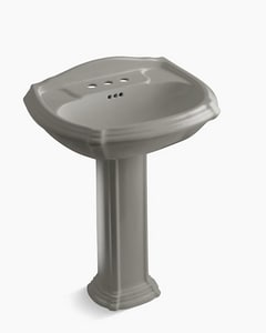 Kohler Portrait® 3-Hole Pedestal Oval Bathroom Sink with 4 in. Faucet Centerset with Center Drain in Cashmere K2221-4