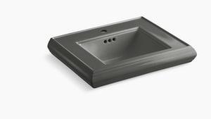 Kohler Memoirs® 1-Hole Pedestal Rectangular Bathroom Sink with Center Drain in Thunder Grey K2239-1-58