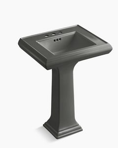 Kohler Memoirs® 3-Hole Pedestal Rectangular Bathroom Sink with 4 in. Faucet Centerset and Rear Center Drain in Thunder Grey K2238-4-58