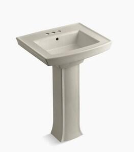 Kohler Archer® 3-Hole Bathroom Sink Pedestal with P-Trap in Sandbar K2359-4-G9