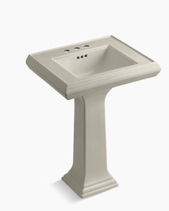 Kohler Memoirs® 3-Hole Pedestal Rectangular Bathroom Sink with 4 in. Faucet Centerset and Rear Center Drain in Sandbar K2238-4-G9