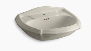 Kohler Portrait® 1-Hole Pedestal Rectangular Bathroom Sink with Center Drain in Sandbar K2222-1-G9