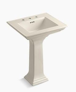 KOHLER Memoirs® 3-Hole Pedestal Bathroom Sink with Overflow Drain in Almond K2344-8-47