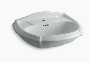 Kohler Portrait® 1-Hole Pedestal Rectangular Bathroom Sink with Center Drain in Ice Grey K2222-1-95