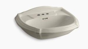 KOHLER Portrait® 3-Hole Pedestal Rectangular Bathroom Sink with 4 in. Faucet Centerset and Center Drain in Sandbar K2222-4-G9