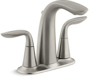 KOHLER Refinia® Two Handle Centerset Bathroom Sink Faucet in Vibrant Brushed Nickel K5316-4-BN