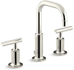 Kohler Purist® Two Handle Widespread Bathroom Sink Faucet in Vibrant Polished Nickel K14406-4-SN