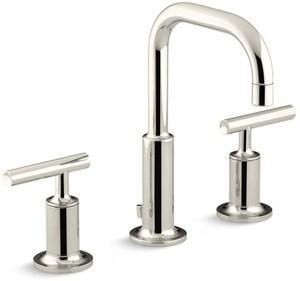 KOHLER Purist® Two Handle Widespread Bathroom Sink Faucet in Vibrant Polished Nickel K14406-4-SN