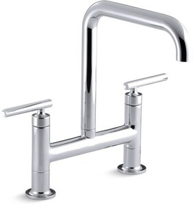 KOHLER Purist® Two Handle Bridge Kitchen Faucet in Polished Chrome K7547-4-CP