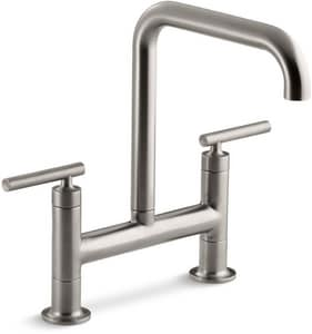 Kohler Purist® Two Handle Bridge Kitchen Faucet in Vibrant Stainless K7547-4-VS