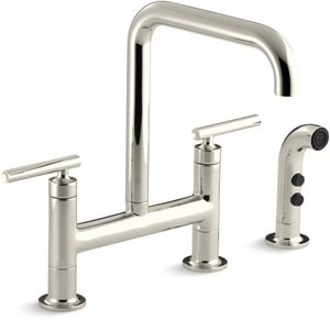 Kohler Purist® Two Handle Bridge Kitchen Faucet in Vibrant® Polished Nickel K7548-4-SN