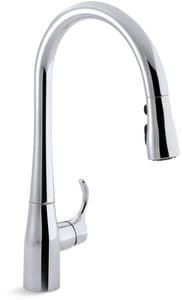 Kohler Simplice® 1.5 gpm 1 or 3 Hole Deck Mount Kitchen Faucet with Single Lever Handle in Polished Chrome K596