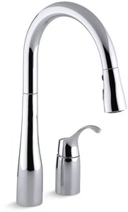 KOHLER Simplice® Single Handle Pull Down Kitchen Faucet with Three-Function Spray, Magnetic Docking and Sweep Spray Technology in Polished Chrome K647-CP