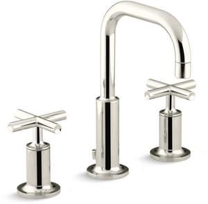 KOHLER Purist® Two Handle Widespread Bathroom Sink Faucet in Vibrant Polished Nickel K14406-3-SN