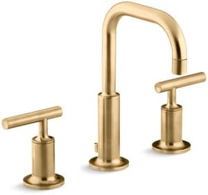KOHLER Purist® Two Handle Widespread Bathroom Sink Faucet in Vibrant Moderne Brushed Gold K14406-4-BGD