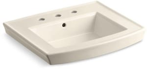 Kohler Archer® 3-Hole Pedestal Bathroom Sink Basin with Overflow Drain in Almond K2358-8