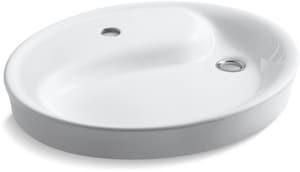 Kohler Yin Yang® Wading Pool® Vessel Mount Bathroom Sink in White K2354-1-0