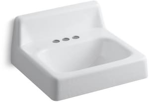 Kohler Hudson™ 19 x 17 in. Wall-Mounted Lavatory Sink with 4 in. Centerset Faucet Holes White K2861-0