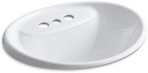 Kohler Tides® 3-Hole Oval Drop-In Bathroom Sink with Overflow and 4 in. Centerset K2839-4