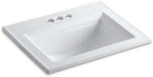 Kohler Memoirs® Stately Drop-in Bathroom Sink in White K2337-4-0