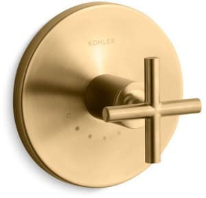 Kohler Purist® Valve Trim with Single Cross Handle for Thermostatic Valve in Vibrant Moderne Brushed Gold KT14488-3-BGD