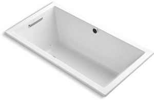 Kohler Underscore® 60 x 32 in. Drop-in Acrylic Rectangular Air Bathtub with End Drain and Heated Surface in White K1168-GW-0