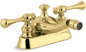 Kohler Revival® 2-Hole Bidet Faucet with Double Traditional Lever Handle in Vibrant Polished Brass K16131-4A-PB