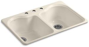 KOHLER Hartland® 33 x 22 in. 3 Hole Cast Iron Double Bowl Drop-in Kitchen Sink in Almond K5818-3-47
