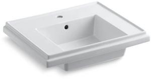 Kohler Tresham® 1-Hole Pedestal Bathroom Sink Basin with Flat Desk K2757-1