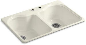 Kohler Hartland® 33 x 22 in. 2 Hole Cast Iron Double Bowl Drop-in Kitchen Sink in Biscuit K5818-2-96