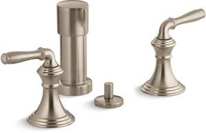 Kohler Devonshire® Double Lever Handle Vertical Spray Bidet Faucet in Vibrant Brushed Bronze K412-4-BV