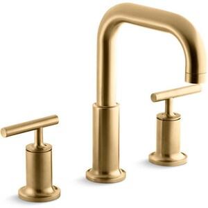 Kohler Purist® Two Handle Roman Tub Faucet in Vibrant Moderne Brushed Gold Trim Only KT14428-4-BGD