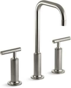 KOHLER Purist® Two Handle Widespread Bathroom Sink Faucet in Vibrant Brushed Nickel K14408-4-BN