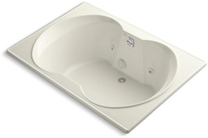Kohler Overture® 60 x 42 in. Drop-In Whirlpool Tub with Custom Pump Location and Reversible Drain in Biscuit K1226-CD-96