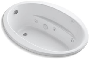 Kohler Sunward® 60 x 42 in. Thermal Air Drop-In Bathtub with End Drain in White K1162-S1H-0