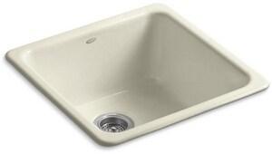 Kohler Iron/Tones® 20-7/8 x 20-7/8 in. No Hole Cast Iron Single Bowl Dual Mount Kitchen Sink in Cane Sugar™ K6587-FD