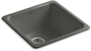 Kohler Iron/Tones® 20-7/8 x 20-7/8 in. No Hole Cast Iron Single Bowl Dual Mount Kitchen Sink in Thunder™ Grey K6587-58