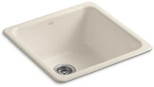 KOHLER Iron/Tones® 20-7/8 x 20-7/8 in. No Hole Cast Iron Single Bowl Dual Mount Kitchen Sink in Almond K6587-47