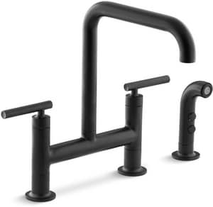Kohler Purist® Two Handle Bridge Kitchen Faucet in Matte Black K7548-4-BL