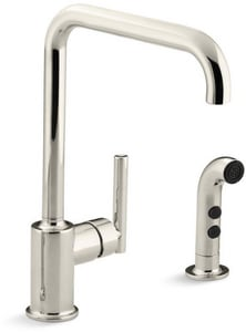Kohler Purist® Single Handle Kitchen Faucet in Vibrant® Polished Nickel K7508-SN