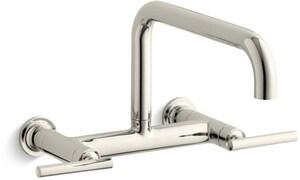 KOHLER Purist® Two Handle Bridge Kitchen Faucet in Vibrant® Polished Nickel K7549-4-SN